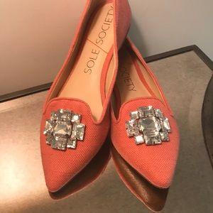 Sole Society Fabric Rhinestone Jeweled Flats  - 8